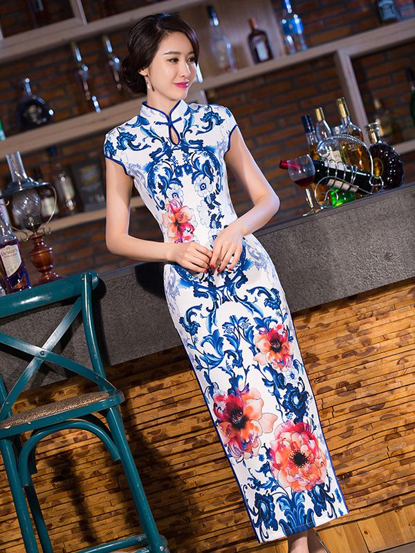 Blue pottery inspired vivid floral white mandarin collar long dress ...