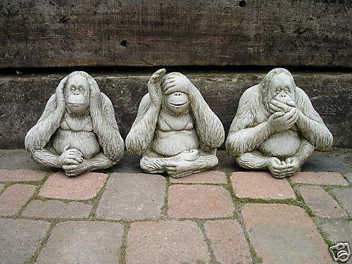Garten Deco Gartenfiguren Steinfigur 3 Affen Affe Antik