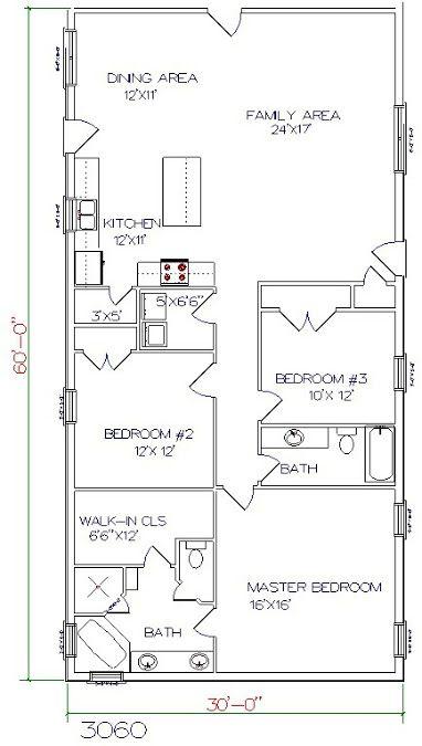 Barndominium Floor Plan 3 Bedroom 2 Bathroom 30x60 Barndominium Floor Plans House Plans Barn House Plans
