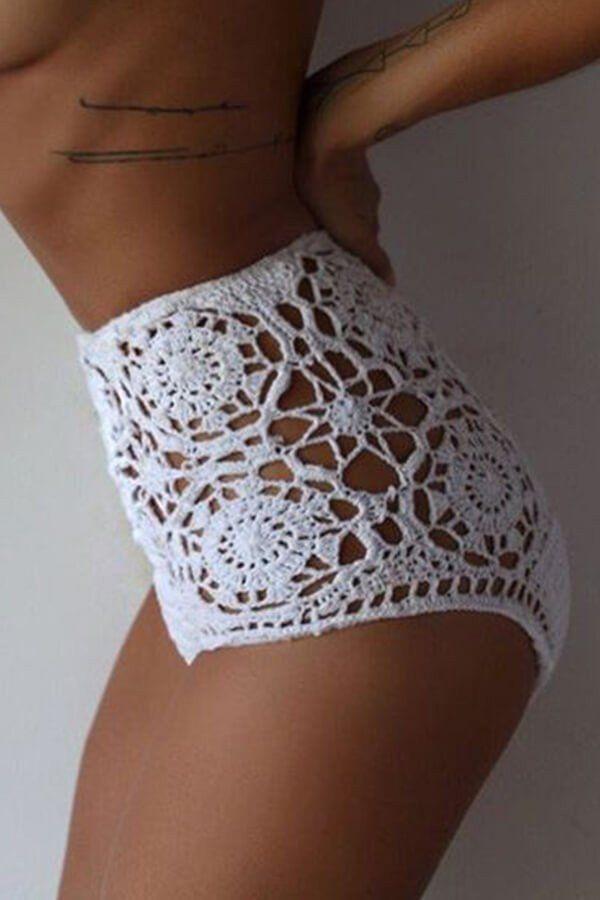 Floralkini Solid High Waist Crochet Bikini Bottom – FloralKini