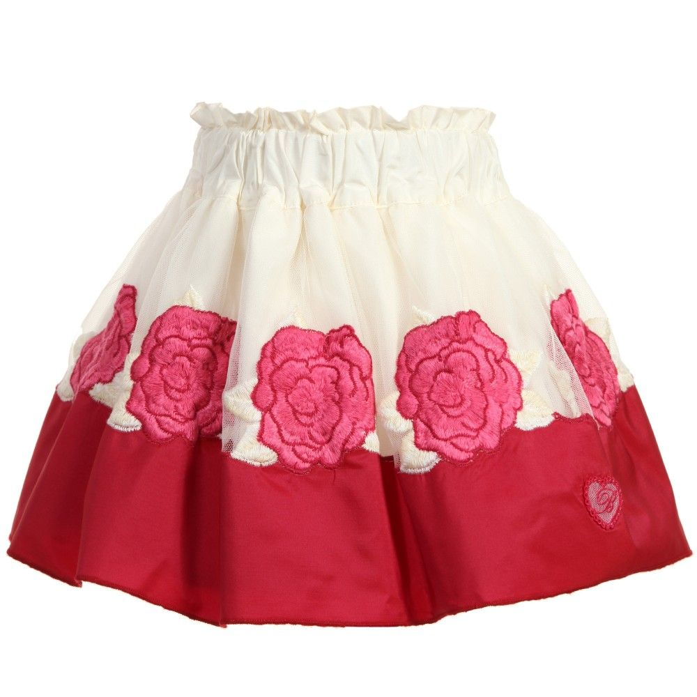 Girls red and ivory skirt with tulle and embroidered pink roses by Miss Blumarine. In a skater style, the design has multiple layers, is pleated, has a side zip and a smooth cotton lining with an elasticated adjustable waist.<br /> <ul> <li>100% viscose (silky feel)</li> <li>Lining: 100% cotton (smooth feel)</li> <li>Tulle and lace: 100% polyalmide</li> <li>Hand wash</li> <li>Elasticated waist</li> <li>Side zip fastening</li> <li>Made in Italy</li> </ul>