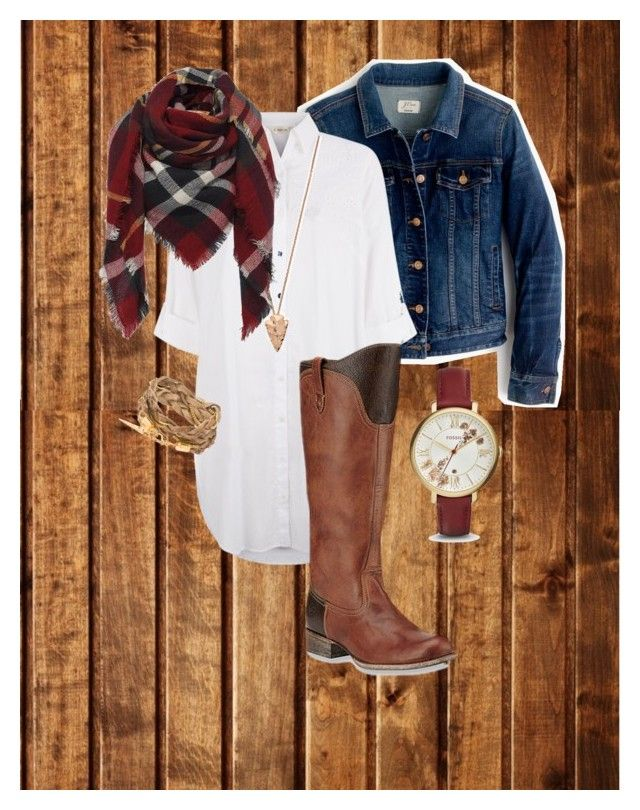 """Untitled #19"" by m2415m on Polyvore featuring J.Crew, Monsoon, Ariat, Pamela Love and FOSSIL"