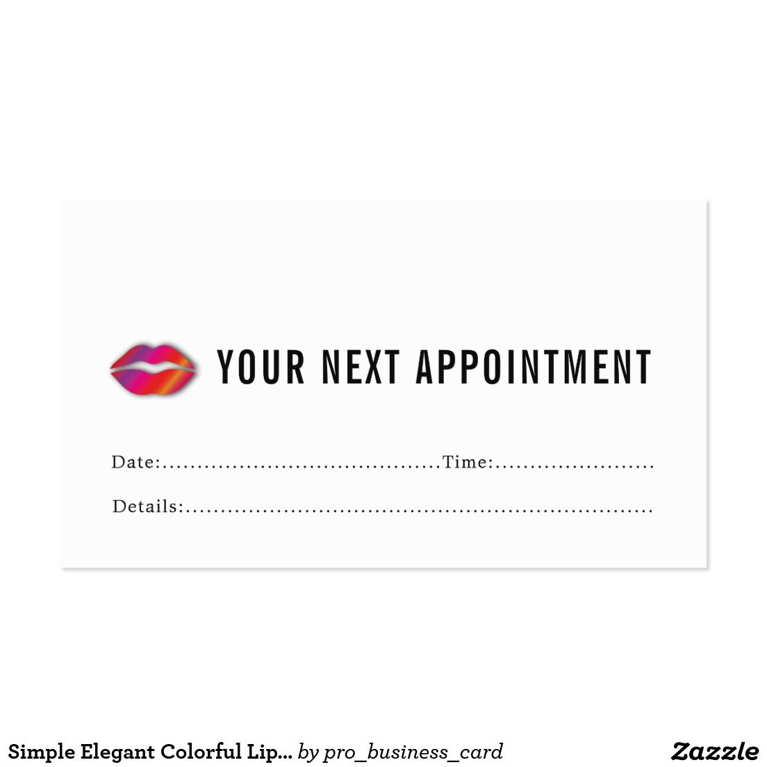 Simple Elegant Colorful Lips Makeup Appointment | Appointment Cards ...