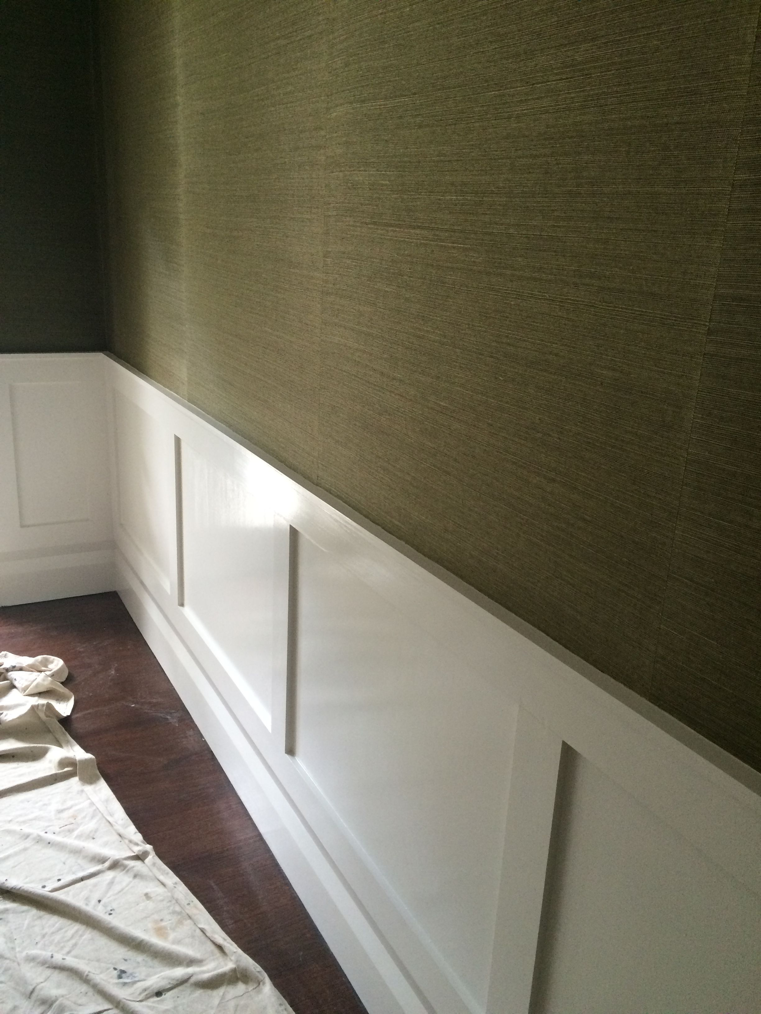 office wainscoting ideas. When Doing Darker Colors, Grass Cloth Always Works Better Than Paint. Office Wainscoting Ideas