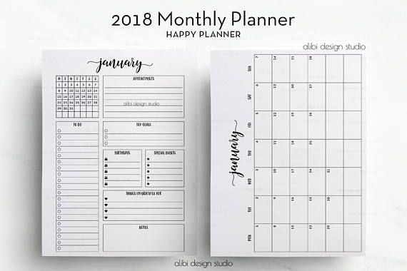 2018 Monthly Planner Happy Planner Month at a Glance 2018 Happy