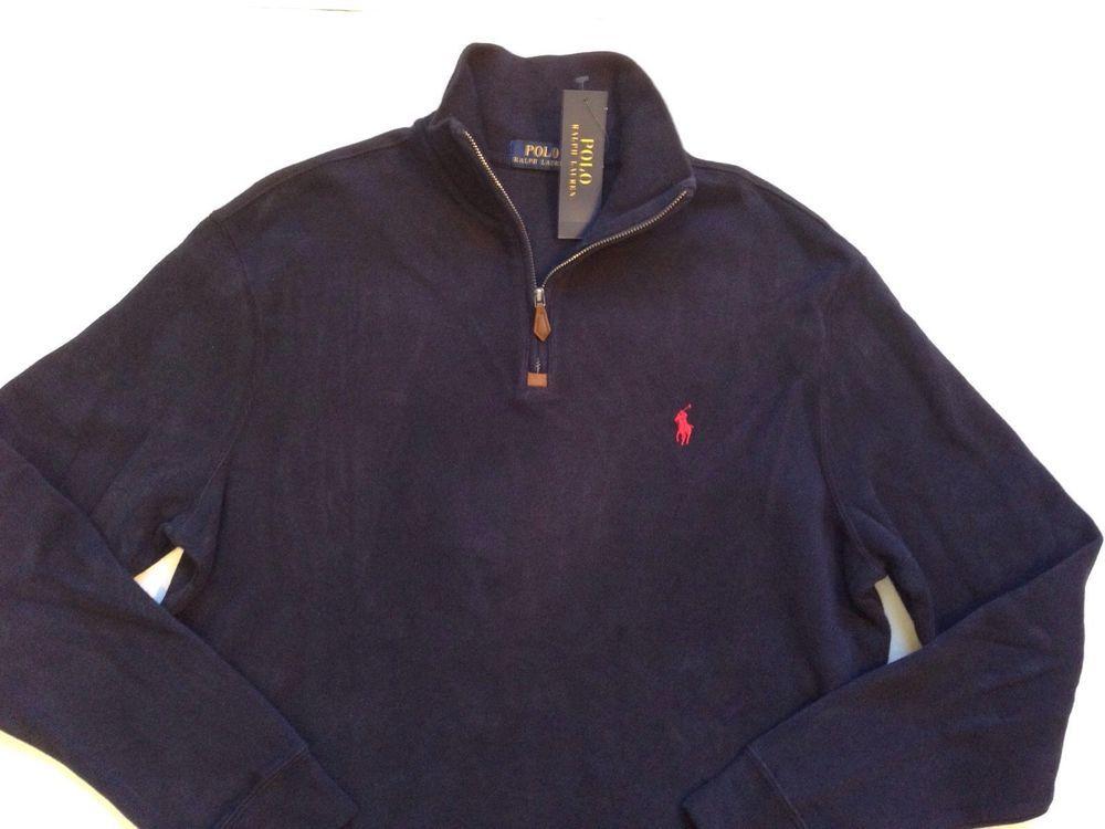 Polo Ralph Lauren New Half Zip Mock neck Navy Pullover Sweater Red Pony Men  s M