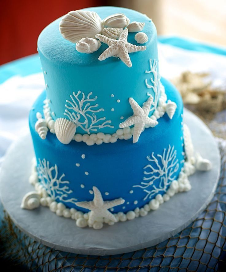 9 Simple Wedding Cakes With Just One Layer: 2 Layer Under The Sea Garnished Cake