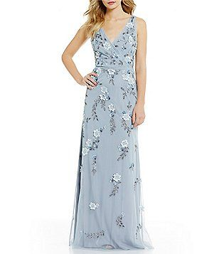 Adrianna Papell Plunging V Neck Floral Beaded Gown Sam Pinterest