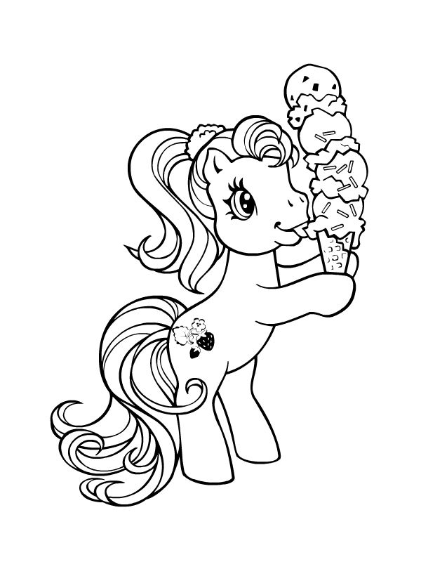 My Little Pony G3 Coloring Pages : Petit poney mangeant une glace mes petites pouliches