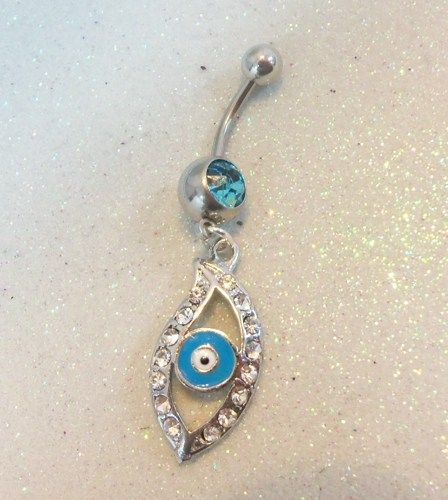 Evil Eye Belly Ring Bellybutton Ring W Evil Eye And Rhinestones