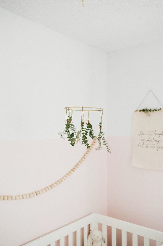 Simple Crib Mobile With Greenery For The Nursery Girl