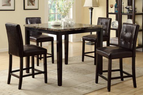 F2339 F1144 Henry Faux Marble Top Counter Height Dining Table 4 Chairs Counter Height Dining Table Set Counter Height Dining Table Glamourous Dining Room