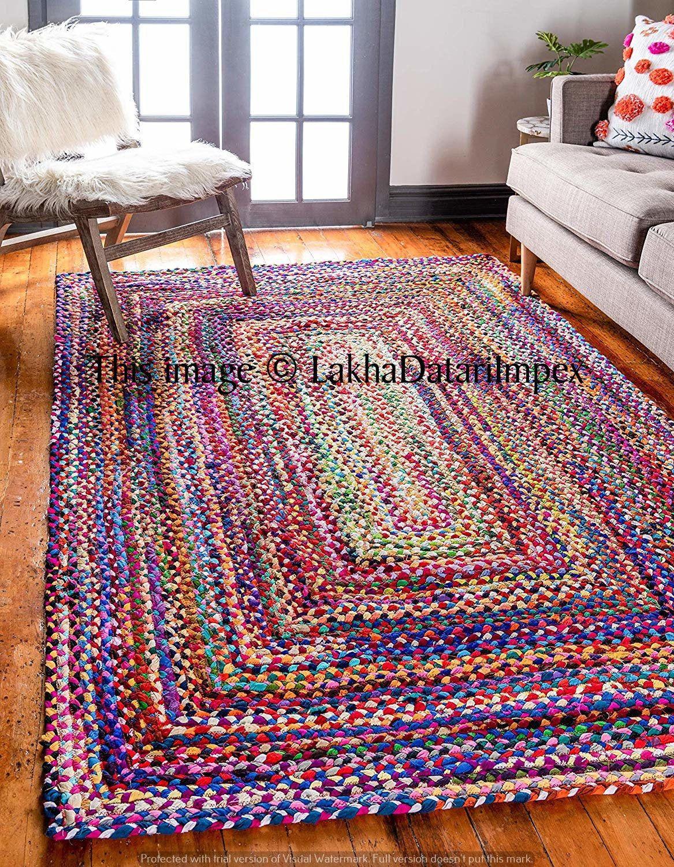Hand Braided Bohemian Colorful Cotton Chindi Area Rug Multi Colors Floor Rug Bath Mats Rugs Handmade Rug Home Decor Rugs Carpets Area Rugs Cotton Rug Area Rugs