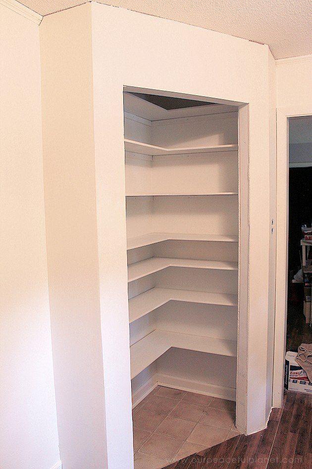 DIY Corner Pantry in 2019  storage  Corner pantry Diy