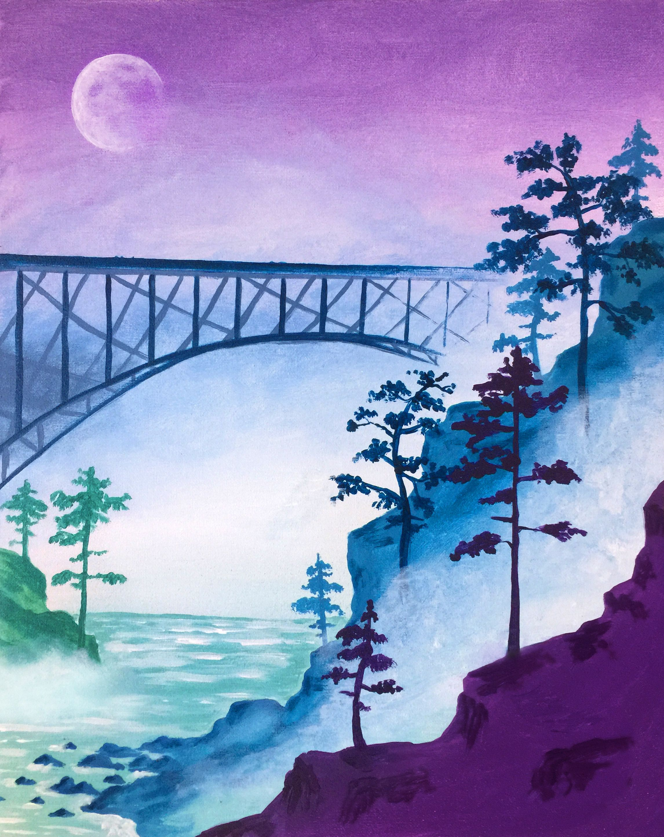 Paint Nite Bridge In The Mist Landscape Drawings Landscape
