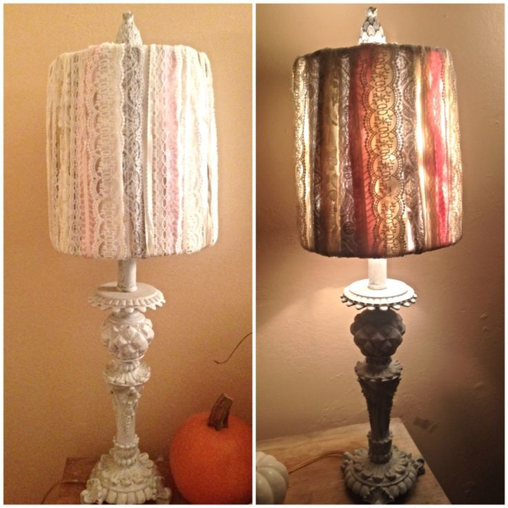 Revamped Old Lamp Lace And Ribbon Tied Around The Old Lamp Shade