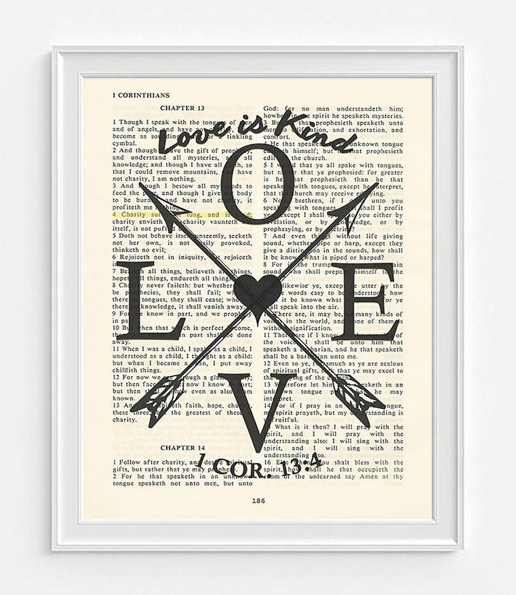Love Is Kind 1 Corinthians 134 Vintage Bible Page Christian Art