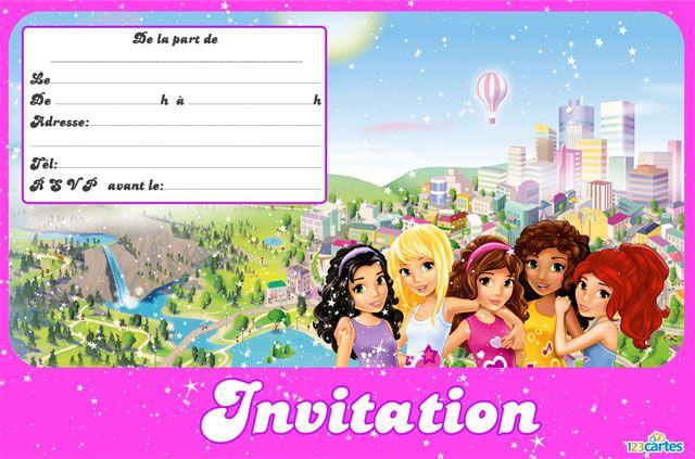 Carte invitation anniversaire lego friends pour filles info pratique pinterest invitation - Coloriage lego friends a imprimer ...