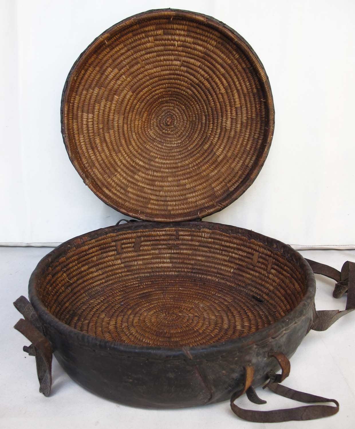 leather covered basket, Bali...