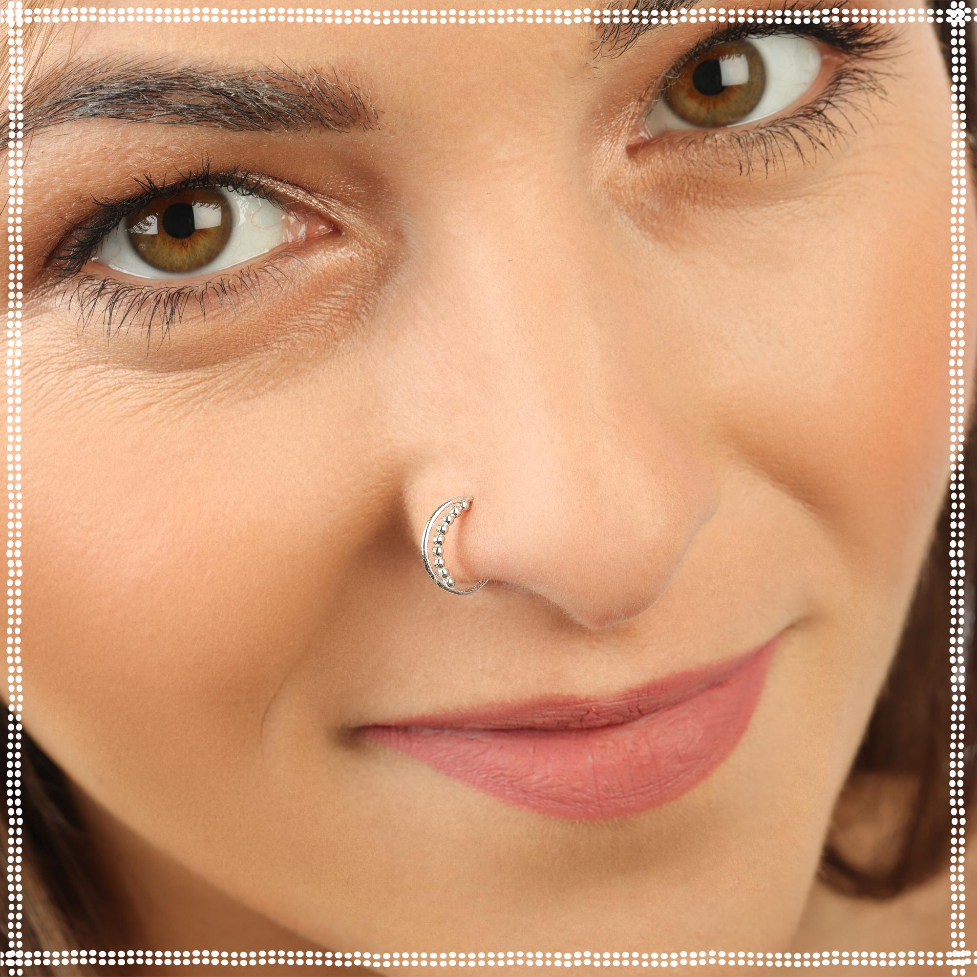 Kiwi Diamond Solid 14k Black Gold Nose Hoop Sizes 20g 16g Gold Nose Hoop Nose Rings Hoop Gold Body Jewellery