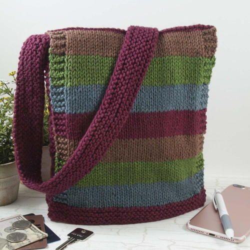 Easy Knit Messenger Bag #freeknittingpatterns