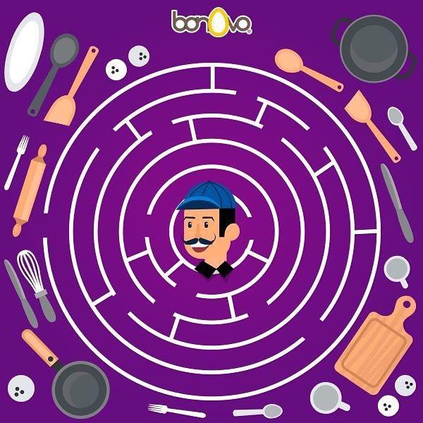 El Chef Aquiles se perdió. ¡Ayúdale a encontrar su cocina! #Bonovo #SaldelCascarón #Huevos #Cocina #Food #Comida #Delicioso