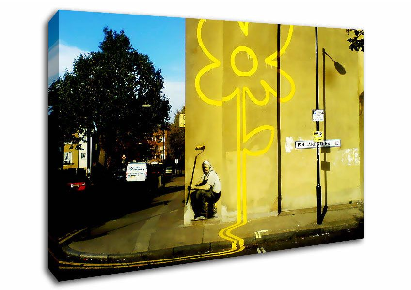 Double Yellow Flower-Banksy Canvas Prints Several Sizes, Prices From ...