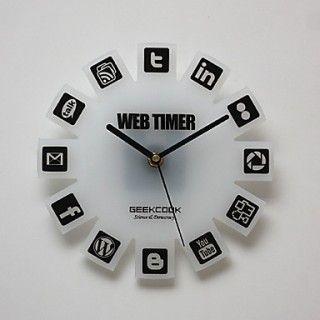 Nerdy Social Media Wall Clock Wall Clock Clock Timer Clock