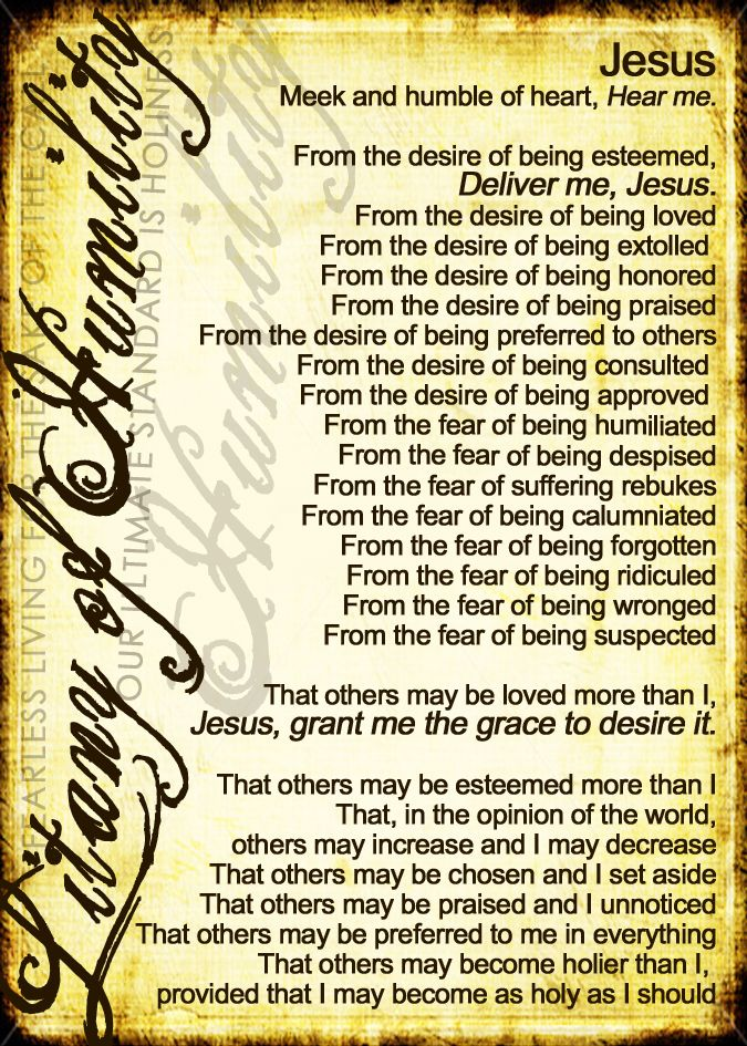 It is a graphic of Crush Litany of Humility Printable