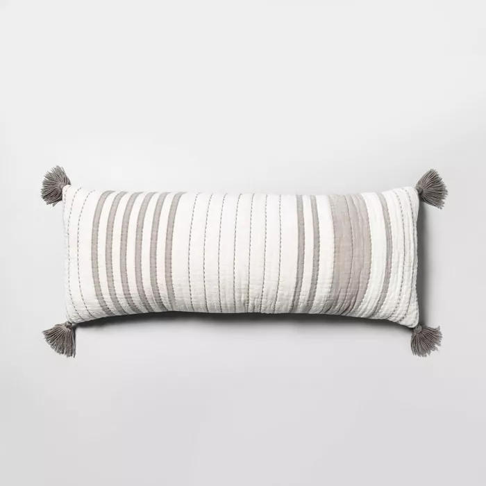 Lumbar Pillow Oversized Stripe Gray