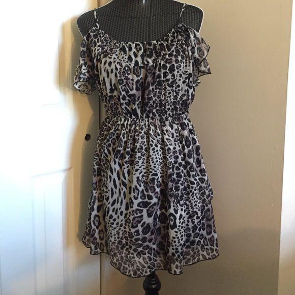 Cheetah Summer Dress Cheetah Summer dress. -ruffled off shoulder short sleeve, elastic in waist, flattering. Size M PacSun Dresses