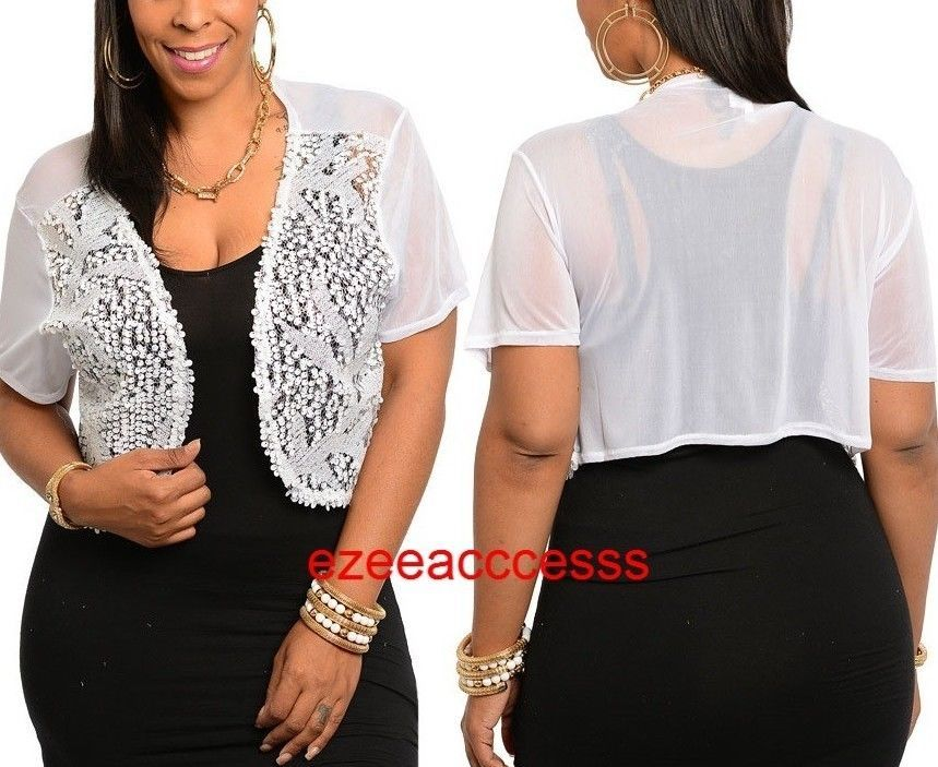 women plus size sheer lace shrug bolero top blouse jacket coverup