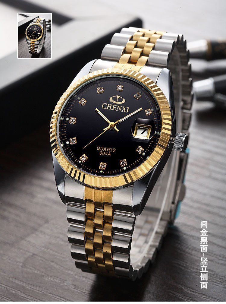 b4fb5d842829 Swiss Brand Two Tone Watch Men Women Gold Silver Stainless Steel Waterproof Couple  Watches Gift of 2 Black     More info could be found at the image url.