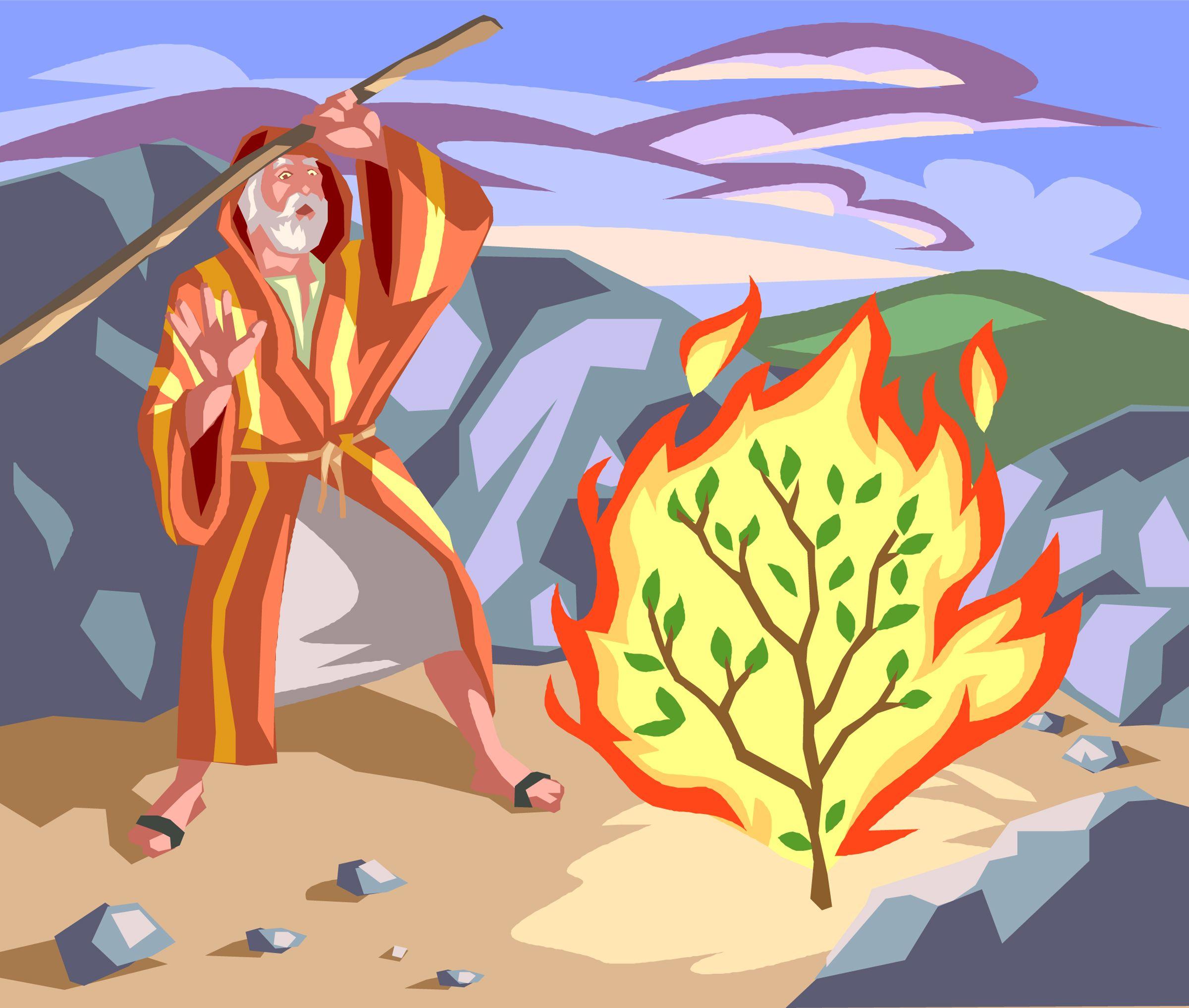 Image result for burning bush cartoon image