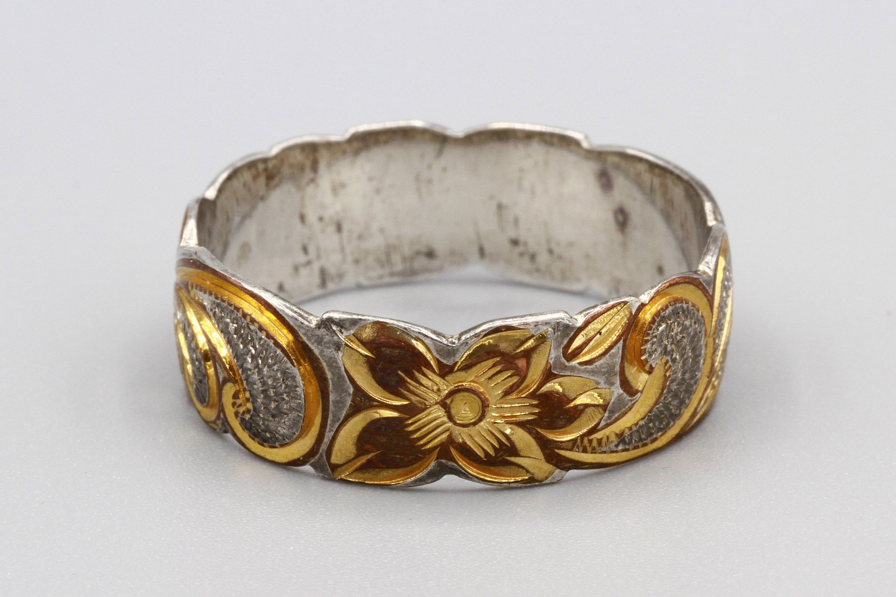 Mens Wedding Ring Hawaiian Flowers Ring Art Nouveau Look 925 Silver And Gold Ring Size 12 Etched Scroll Ring Sterling And 12K Gold