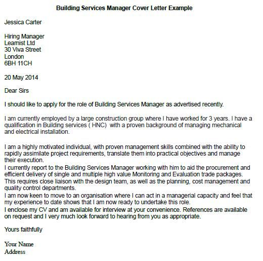 Building Services Manager Cover Letter Example for martin - cover letter service