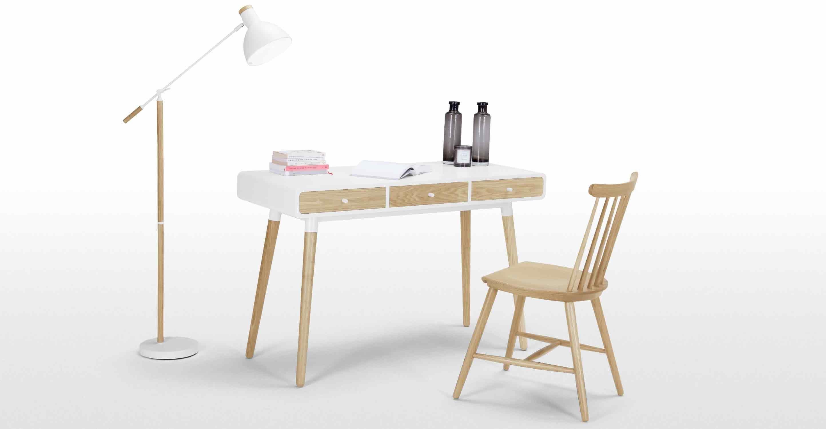 Edelweiss un bureau frêne et blanc intérieur
