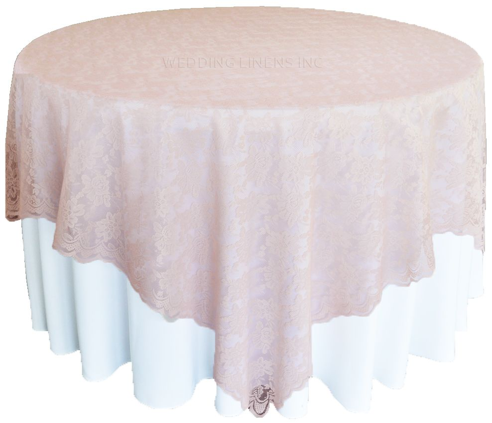 72 Square Lace Table Overlays Blush Pink 90715