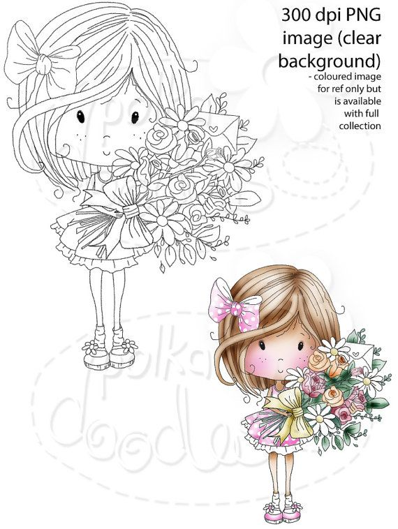 A bouquet of flowers Just for you -Winnie Sugar Sprinkles - Digital Stamp…