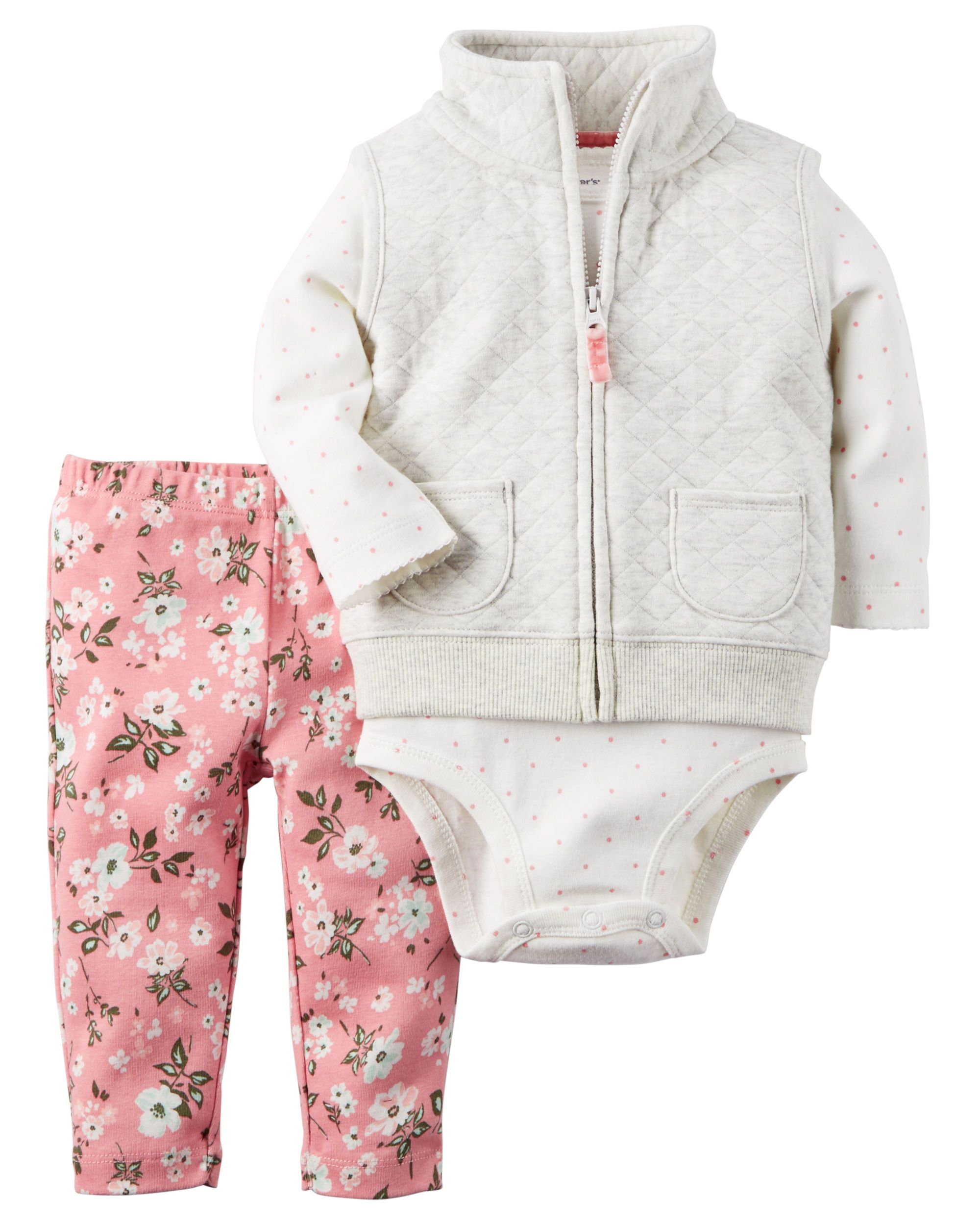 c920245c3 Baby Girl 3-Piece Little Vest Set from Carters.com. Shop clothing &  accessories from a trusted name in kids, toddlers, and baby clothes.