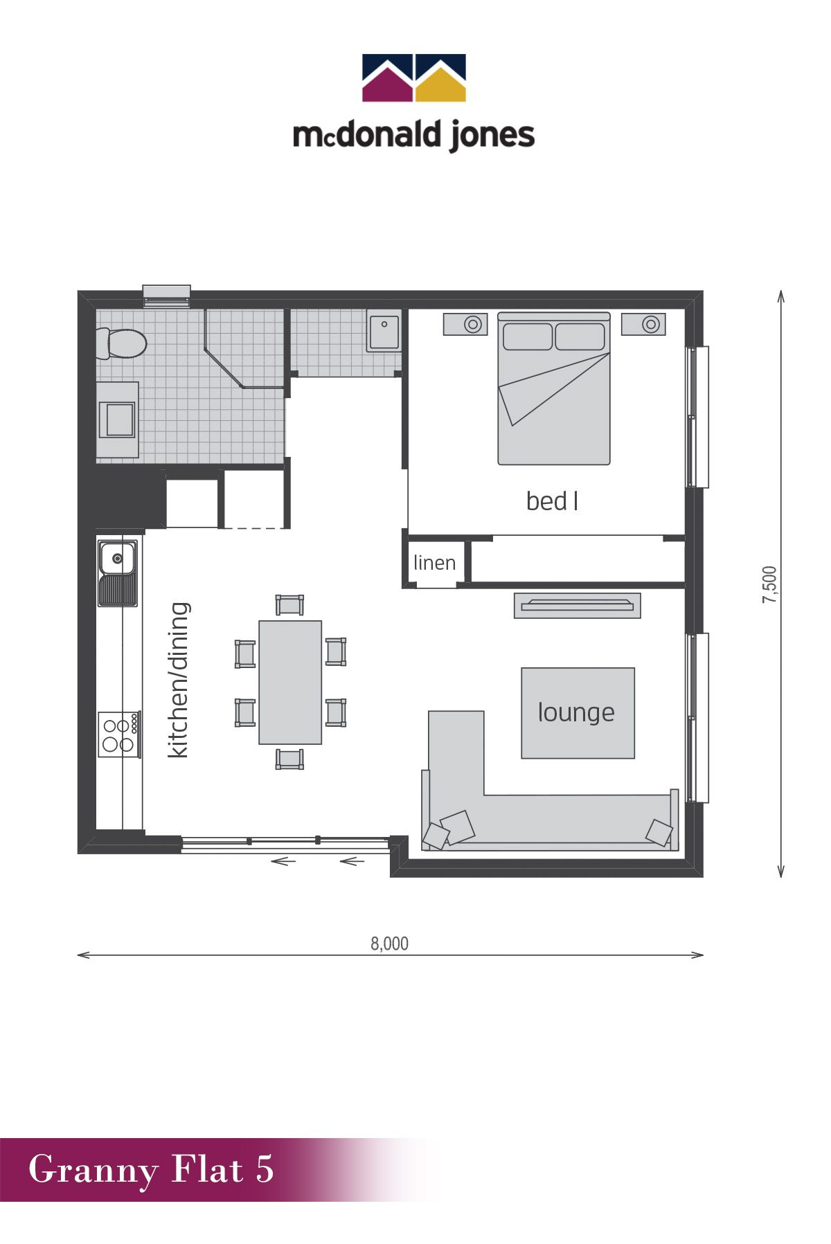 Granny flat 5 floor plan by mcdonald jones built as a separate residence to your home this granny flat combines a comfortable and luxurious accommodation