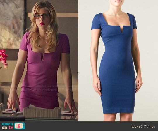 DSquared Slash Neck Dress worn by Emily Bett Rickards on Arrow