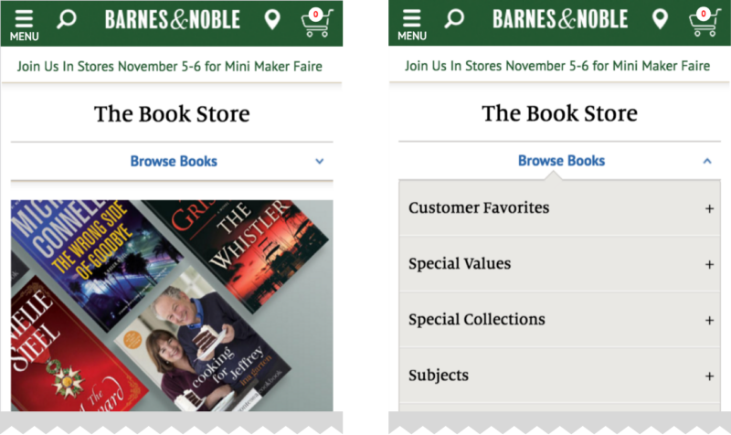 When Browsing Books The Current Category And The Navigation Filtering Options Are Always Available In A Dropdown Menu On Bn Com Hamburger Menu Navigation Menu
