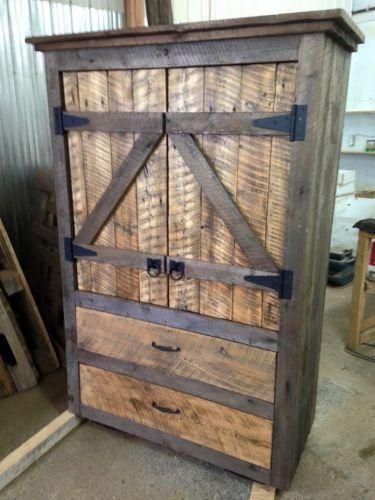 Armoire en bois de grange ext rieur pinterest for Meuble antique quebecois