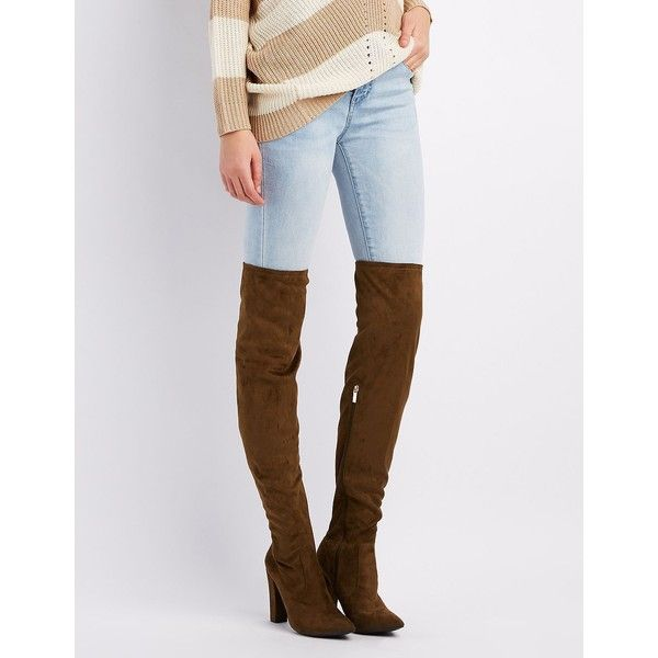543fb2af3273 Bamboo Pointed Toe Over-The-Knee Boots ($30) ❤ liked on Polyvore featuring  shoes, boots, olive, olive green over the knee boots, thigh high boots, over  the ...