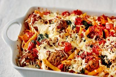 Recipe: Smoky Mozzarella Pasta and Meatball Bake | Kitchn