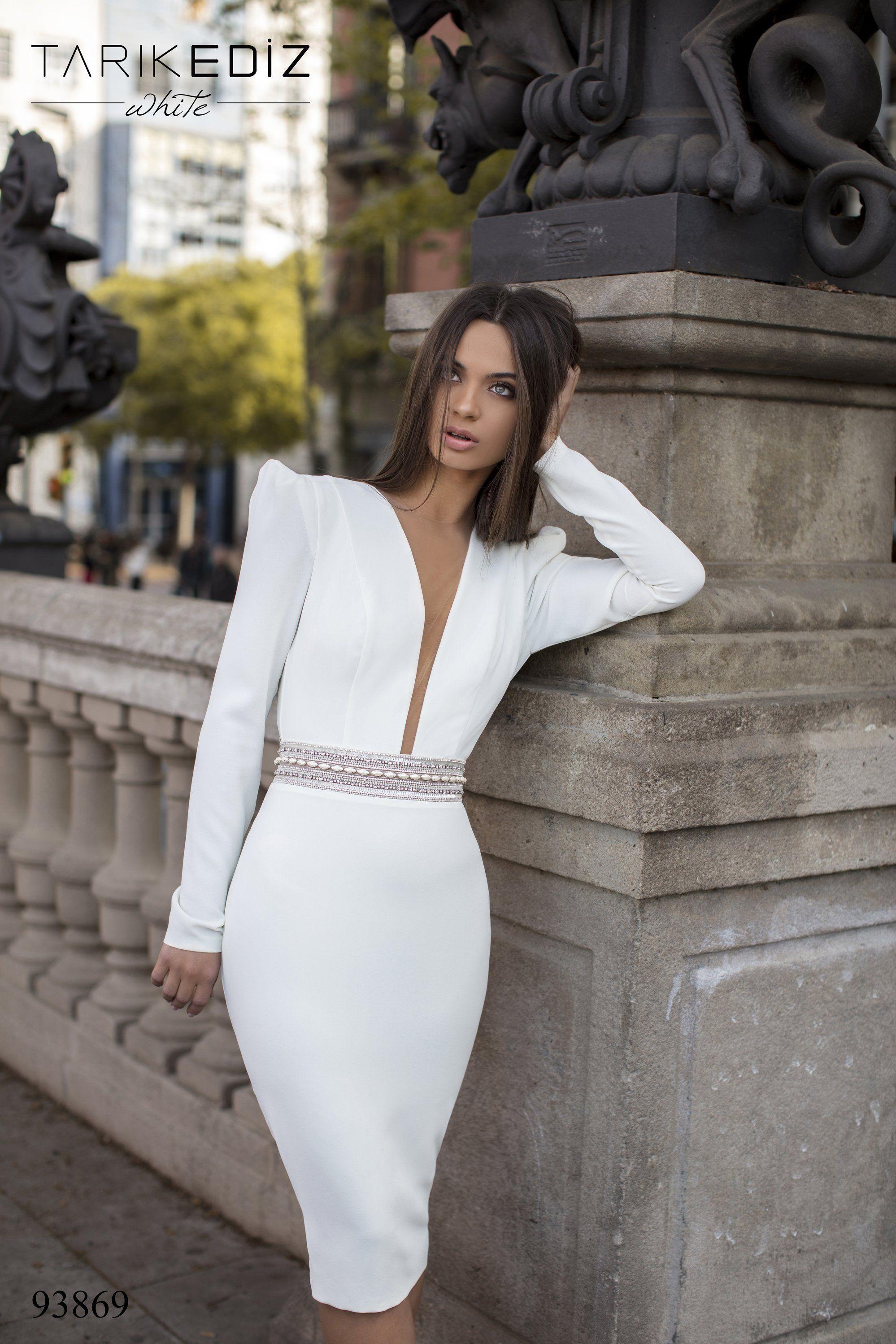 Tarik Ediz 93869 Embellished Deep V Neck Long Sleeve Fitted Dress Long Sleeve Fitted Dress Long Sleeve Wedding Dress Lace White Short Dress [ 2997 x 1998 Pixel ]