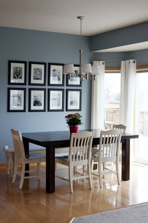 Beautiful Blue Color To Go With Natural Wood Trim And My All Time Favorite Black Frames Love The White Chairs Too