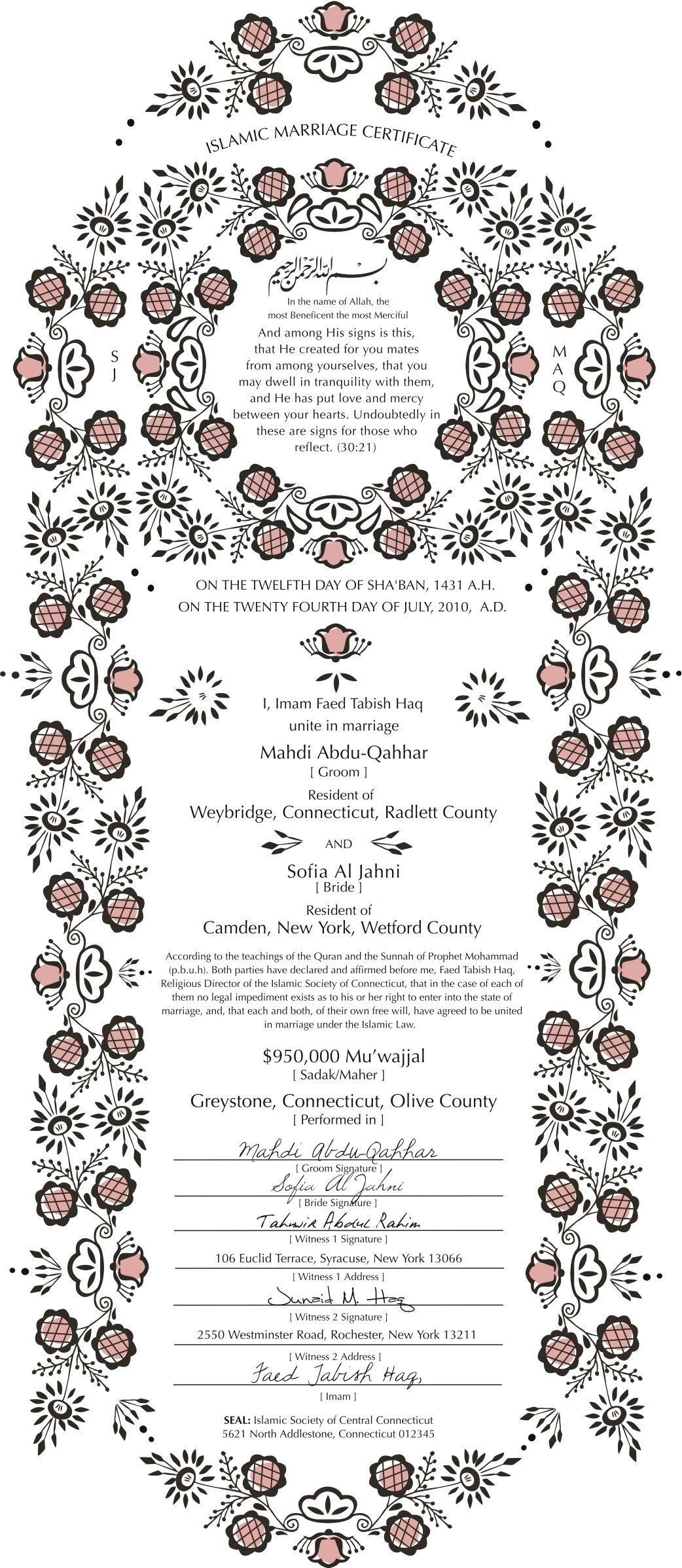 Nikkahanama Islamic Marriage Certificate Design Example