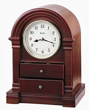 Bulova B1880 Anniston Walnut Quartz Mantel Clock Mantel Clock Clock Mantel Clocks